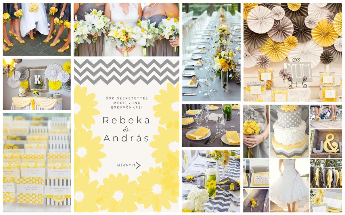 Ötletek sárga és szürke esküvői dekorációhoz